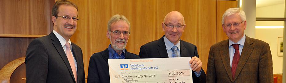 Spende statt Weihnachtsgeschenke - Volksbank Niedergrafschaft spendet an den Förderkreis der Musikschule Niedergrafschaft