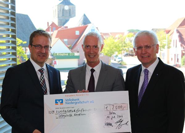 Volksbank Niedergrafschaft spendet 2500 Euro für die Lebenshilfe Grafschaft Bentheim